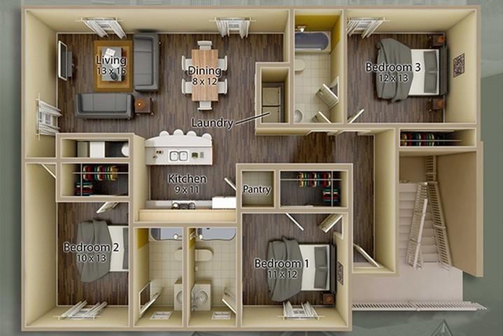 Jacksons Commons Floor Plan: 3x3