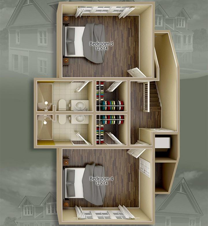 Jacksons Commons Floor Plan: 4x4 Second Floor